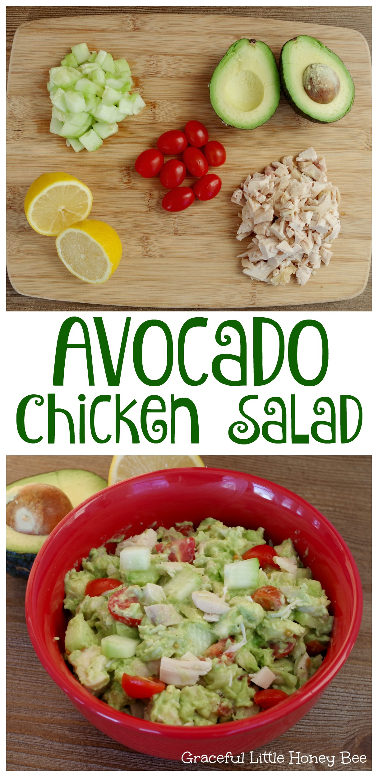 Healthy avocado chicken salad graceful little honey bee ive been trying to eat more fresh foods lately and i think this might just be my new favorite go to healthy recipe im kind of having a love affair with forumfinder Choice Image