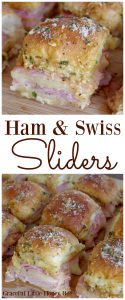 Try these Ham & Swiss Sliders for a quick and easy treat at your next party on gracefullittlehoneybee.com