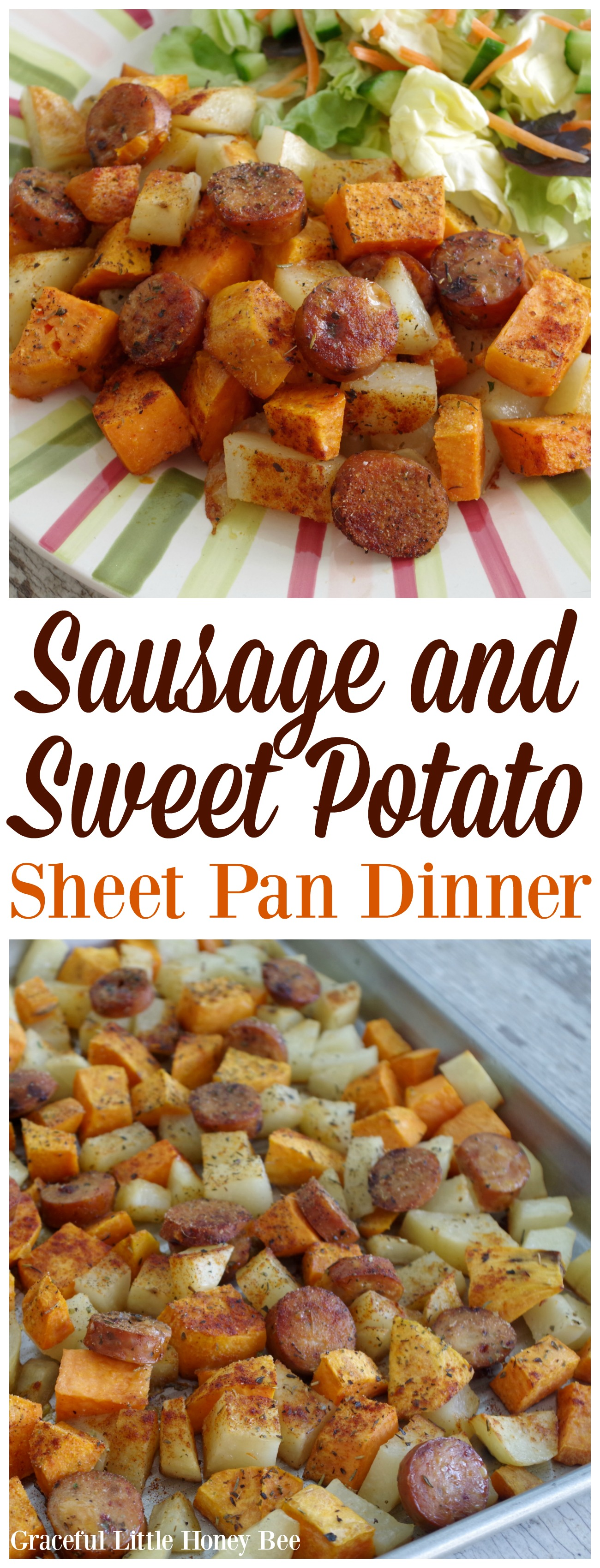 Sausage And Sweet Potato Sheet Pan Dinner Graceful Little Honey Bee